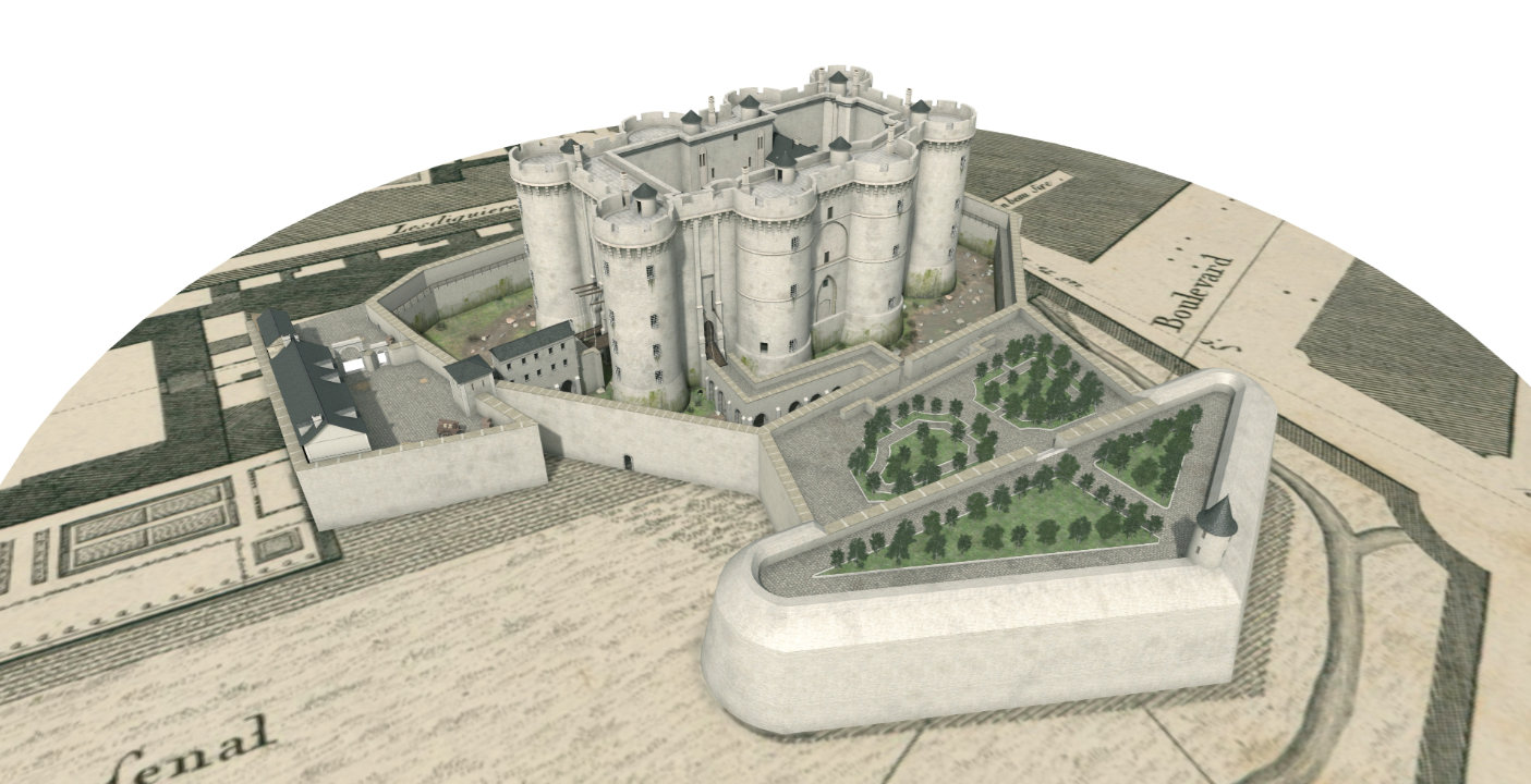 "Reconstitution de la Bastille, sous <span class=""slippryEngine"">BabylonJS</span> <span class=""slippryCopy"">&copy; Axeon Software 2017</span>"