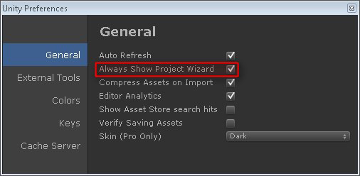 Unity : Project Wizard